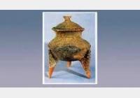 弦纹红陶釜形鼎的图片,尺寸,器形和特征