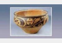 圆点孤线纹彩陶盆的图片,尺寸,器形特征