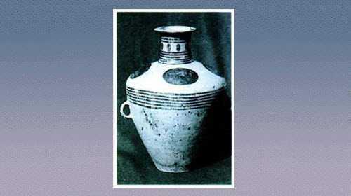 圆点弦纹彩陶双耳壶的图片,尺寸,器形和特征