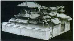 彩绘陶三进院落的图片,尺寸,器形,特征和纹饰