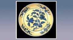 黄地青花花果盘的图片,尺寸,年代,器形,特征,纹饰