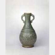宋耀州窑青釉刻花莲花纹双耳瓶的图片,特点,年代,鉴赏,馆藏