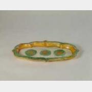 辽三彩印花海棠式盘的图片,特点,年代,鉴赏,馆藏