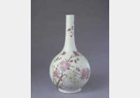 清雍正粉彩桃花纹直颈瓶的图片,特点,年代,鉴赏,馆藏