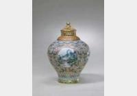 清乾隆粉彩开光四季山水盖罐的图片,特点,年代,鉴赏,馆藏