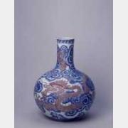 清乾隆青花釉里红云龙纹天球瓶的图片,特点,年代,鉴赏,馆藏