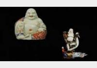 清晚期朱茂记造款五彩弥勒像,清晚期福建会馆款弥勒佛像