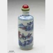清代青花釉里红山水人物鼻烟壶的图片,特点,价格,鉴赏,馆藏