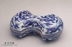 明代隆庆青花云龙纹银锭式盒的图片,特点,价格,鉴赏,馆藏