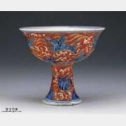 明代宣德青花描红海兽纹高足杯的图片,特点,价格,鉴赏,馆藏