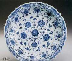 明代青花缠枝花莲瓣大盘的图片,特点,价格,鉴赏,馆藏