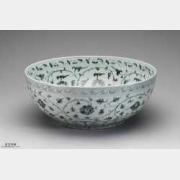 明代洪武青花瓷缠枝牡丹纹大碗的图片,特点,价格,鉴赏,馆藏