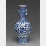 清代雍正款青花番莲双耳瓶的图片,特点,价格,鉴赏,馆藏