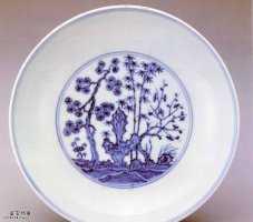 明代宣德款青花庭园仕女图盘的图片,特点,价格,鉴赏,馆藏
