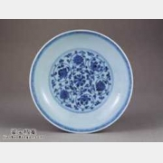 明代宣德窑青花缠枝莲纹盘的图片,特点,价格,鉴赏,馆藏