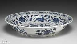 清代青花牡丹纹大果盘的图片,特点,价格,鉴赏,馆藏