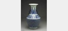 清代顺治青花卍字变纹凤耳瓶的图片,特点,价格,鉴赏,馆藏