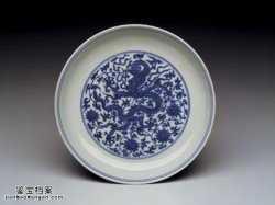 明代嘉靖青花蟠龙狮子盘的图片,特点,价格,鉴赏,馆藏