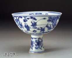 明代嘉靖青花婴戏高足碗的图片,特点,价格,鉴赏,馆藏