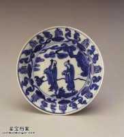 明代万历青花人物寿字碟的图片,特点,价格,鉴赏,馆藏