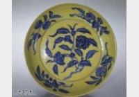 明代成化窑黄地青花折枝花果纹大盘的图片,特点,价格,鉴赏