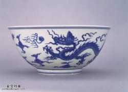 明代成化窑青花云龙戏珠大碗的图片,特点,价格,鉴赏,馆藏