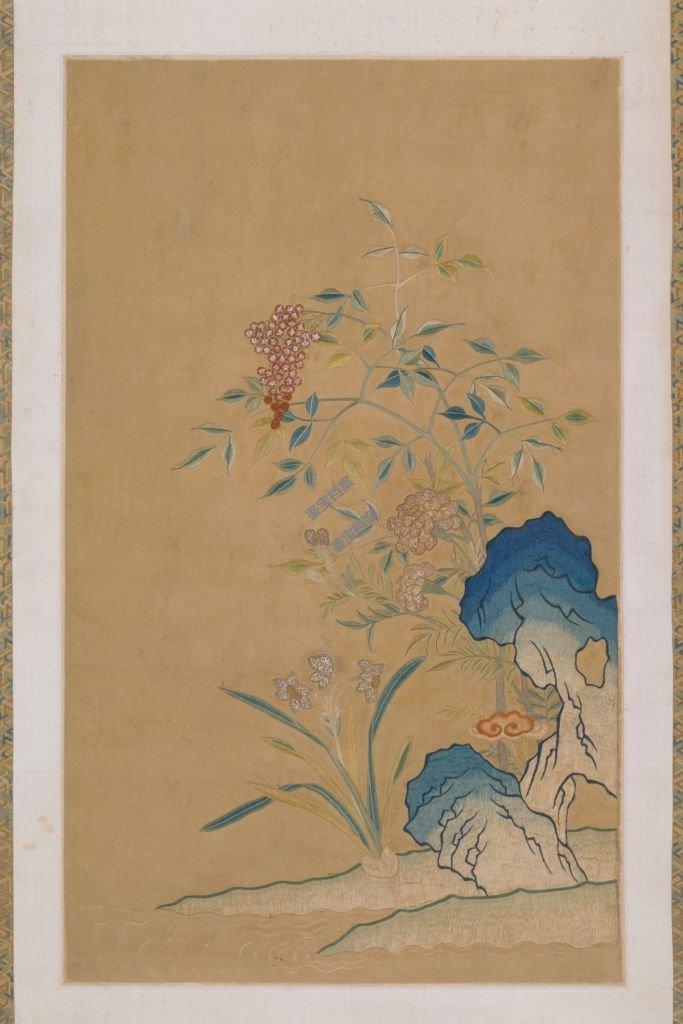 清道光刺绣天竹水仙图轴档案