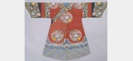 清道光大红色缂丝彩绘八团梅兰竹菊袷袍档案