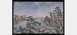 清中期锤胎画珐琅山水楼阁图挂屏档案