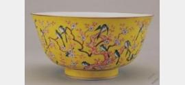 清同治黄地粉彩梅鹊纹碗档案
